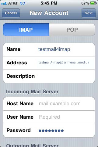 Setup US Army Mail Using IMAP