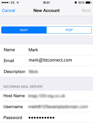 BT CONNECT Mail Setup Using IMAP