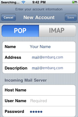 Setup Embarq Mail Using POP
