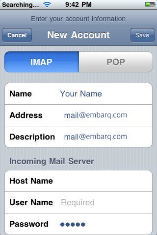 Setup Embarq Mail Using IMAP