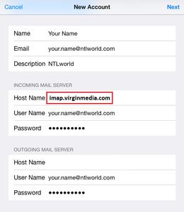Setup NTL World Mail Using IMAP