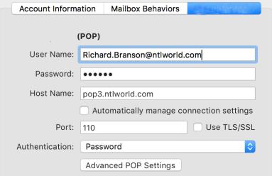 Setup NTL World Mail Using POP