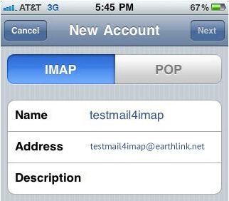 Setup Earthlink Mail Using IMAP