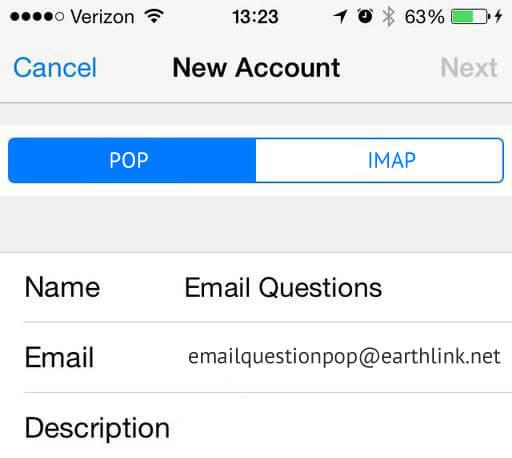 Setup Earthlink Mail Using POP