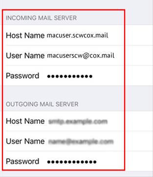 Setup Cox Mail Server