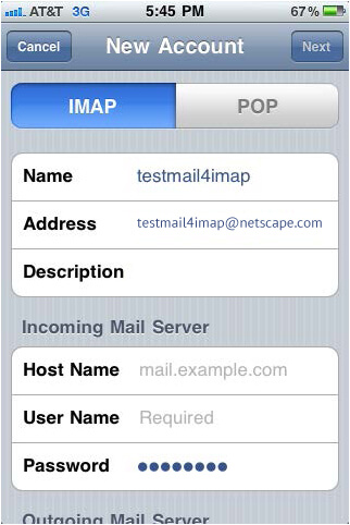 Setup Netscape Mail Using IMAP